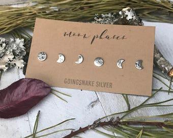 Moon Phase Earrings Set - Sterling Silver - Handmade Earrings - Post Earrings - Lunar Cycle - By Ashley Goings