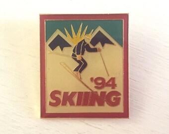 Vintage Enamel Ski Lapel Hat Pinback - Vintage Ski - Ski Sovenir - Pin Badge - Skiing Memorabilia