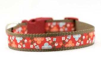 Red Flowers Dog Collar, Flower Dog Collar, Flowers Dog Collar, Summer Dog Collar, Buckle Collar, Martingale Collar