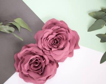 Dusty rose, pink two flower brooch, handmade flowers