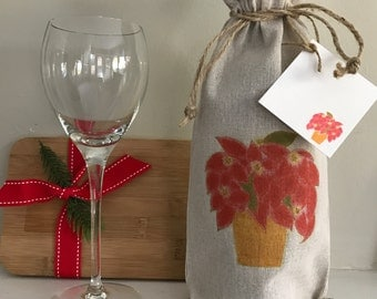 Poinsettia Wine Bag, Linen Wine Bag, Gift Bag with Card, Holiday Wine Gift, Holiday Party Favor, Wine Bag, Holiday Event Gift, Wedding Favor