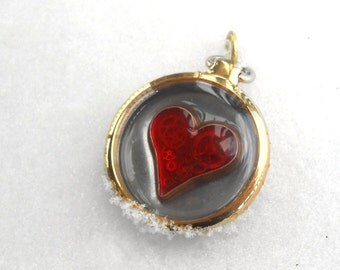 Heart Steampunk Upcycled Genuine Watch Gear Red Enamel Pocket Watch Heart Pendant Valentine's Day