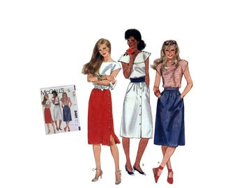 Vintage 80's McCall's 8481 Sewing Pattern Misses Front Button Skirt Side Button Skirt Misses Size 14 Uncut Pattern DIY Ladies Fashion 1983