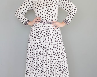 Vintage 1970s Bessi Silk Polka Dot Dress