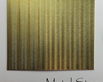 """Textured Brass Sheet 2.5"""" x 3"""" - Wave Pattern 78 - Great for Jewelry or Rolling Mill impressions"""