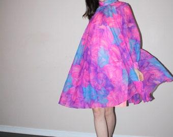 1960s Graphic Fuchsia  Floral 60s Tent Mod  Psychedelic Dress   - Short 60s Dress - Vintage Boho Dress - W00419