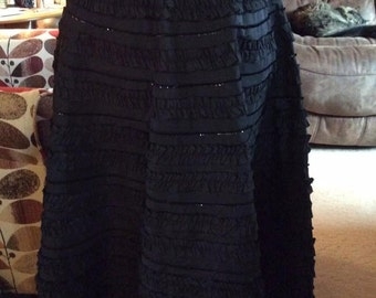 Vintage 1950s Skirt Black Satin Taffeta With Sequins Ruching Alternating With The Sequins Left Side Metal Zipper