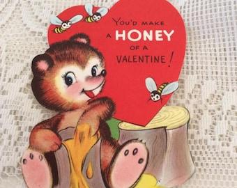 Vintage 1950s Valentine Card Teddy Bear Honey Pot Bumble Bee Collectible Paper Ephemera Arts Crafts Scrap Booking