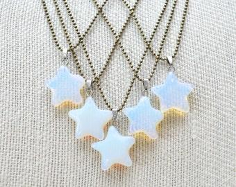 Opalite Star Pendant Necklace/ Star Pendant/ Opalite Stars/ Opalite Star Necklace/ Opalite Gemstone Star Pendant/ Celestial Star (NXB11-OP)