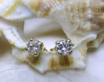 14k Diamond Solitaire Stud Earrings .50cttw Yellow Gold