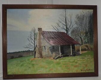 Vintage TIN ROOF Cabin Landscape Blaireville GEORGIA Oil Painting c1970s