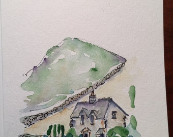 Cottage Watercolor Card / Hand Painted Watercolor Card