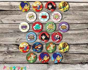 Superhero Girls Cupcake Toppers - Decoration - Stickers - Logos - Printable - DIY - Packaging- Gable Box - INSTANT DOWNLOAD