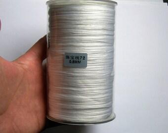 Nylon Cord - knotting/beading cord - 0.8mm - 780 meter - 2559 foot - White - BR4