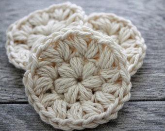 Reusable Organic Cotton Rounds - Crochet Face Scrubbies - Reusable Face Pads - Facial Cleansing Pads - Face Scrubby - Cotton Face Rounds