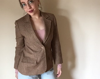 tweed beige 90s vintage office era BLAZER womens small S medium M lapel collar button up light brown preppy school coat knit librarian 6 7