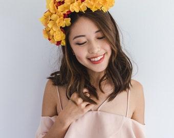 red and orange statement flower crown headband // Poppy / large rose wildflower crown, wedding headpiece, spring garden party