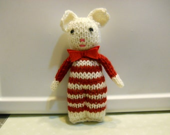Toy Bear knitted , Child's stuffed toy, Safe , Soft, Lovely little Bear in burgundy Stripes and Cream, Baby Gift