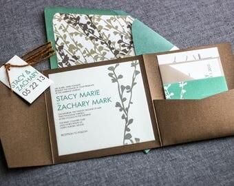 "Rustic Floral Invitation, Woodland Chic Wedding, Green Wedding Invitation Suite, Pocket Invitations - ""Modern Floral Silhouette"" PF-NL-v2"