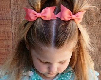 Coral Hair Bows, Baby Girl Hair Bows, Hair Accessories, Baby Bows, Barrettes, Baby Hair Clips, Toddler Hair Bows, Hair Bow Clips