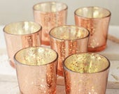36 Rose Gold Votive Holders Mercury Glass Wedding Decor Rose Gold Wedding Decor Blush Pink Tea light Candle Holder Event Party Decor