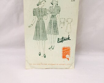 Vintage Butterick 8803 Sewing Pattern, 1930-40's Sewing Pattern, Junior Miss Frock, Deltor Included