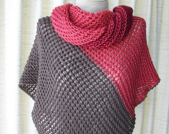 Hand knit Asymmetrical Shawl Triangle Scarf Wrap in Wine Taupe Red / Color Block Stripes