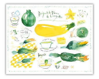 Zucchini flower fritter watercolor recipe print, Yellow Kitchen decor, Italian food poster, Vegetable painting, Wall art, Food illustration