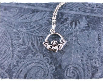 Silver Claddagh Necklace - Sterling Silver Claddagh Charm on a Delicate Sterling Silver Cable Chain or Charm Only