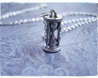 Silver Hourglass Necklace - Antique Pewter Hourglass Charm on a Delicate Silver Plated Cable Chain or Charm Only