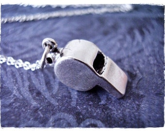 Large Silver Whistle Necklace - Sterling Silver Whistle Charm on a Delicate Sterling Silver Cable Chain or Charm Only