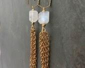 Moonstone Gold Earrings, Long Dangle Moonstone Earrings, Gold Chain Tassel Earrings, Moonstone Jewelry, Gold Statement Earrings