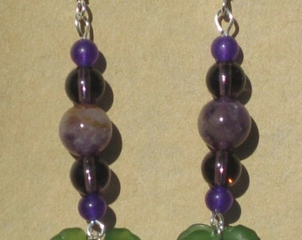 Fairy Amethyst and Leaf Earrings