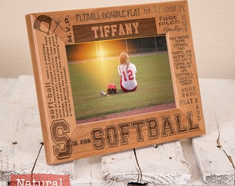 Personalized Softball Picture Frame-Wood Engraved-Get your name/number engraved! Softball Player-Softball Team-Coach Gift