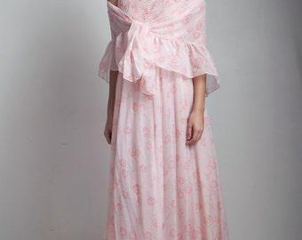 sheer gauzy boho cotton dress 1970s pink floral empire maxi smocked matching shawl ONE SIZE S M L small medium large