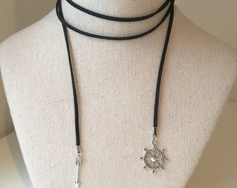Rudder and Arrow Black Wrap Nautical Choker, Adjustable Wheel and Arrow Suede Chocker, Double Wrap Leather Necklace, Navy Rudder Helm