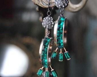Holiday Hoops--Vintage Green Coro Rhinestone Half Hoop Disco Bead EARRINGS