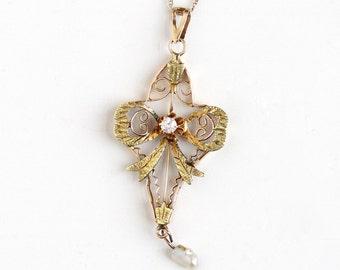 Antique 14k Rose Yellow Gold Diamond & Bow Lavalier Necklace - Vintage Edwardian Fine 1900s Art Nouveau Pendant Pearl Filigree Jewelry
