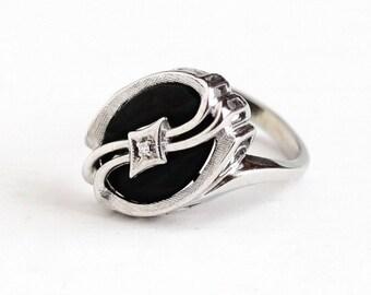 Sale - Vintage 10k White Gold Black Onyx Gem & Genuine Diamond Ring - Size 6 Retro 1950s Oval Black Gem Statement Fine Asymmetrical Jewelry