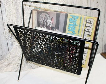 Art Deco Magazine Rack, Vintage Paper Rack, Black Magazine Rack, Atomic Vintage Magazine Rack