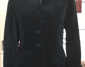 Velveteen Black Blazer 1960s 1970s Size Small Medium Notched Collar Decorative Pockets Covered Buttons Front and Cuffs Pleated in Back