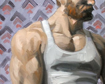 Red Bearded Leather Daddy,  oil on canvas panel 11x14 inches by Kenney Mencher