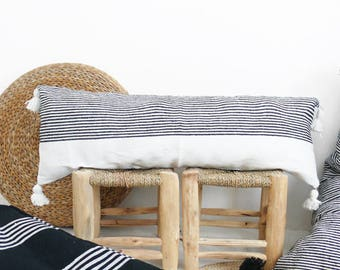 Moroccan POM POM Cotton Pillow Cover - Long in Black Stripes