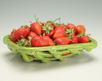 Hand Formed Pottery Berry Basket, Lime Green Candy Dish with Teal Blue Speckles, Earthenware Woven Strawberry Basket