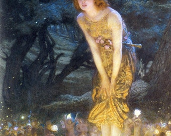 Midsummer Eve, Edward Hughes, Vinatge Art Print, METALLIC