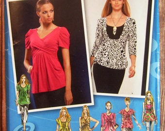 Misses Knit Tops with Bodice Variations and Sleeve Variations Sizes 4 6 8 10 12 Simplicity Pattern 2733 UNCUT