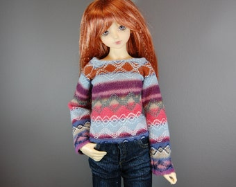 SD / SD13 Fair Isle Sweater in Blue, Green, and Pink/Coral for Girl BJD