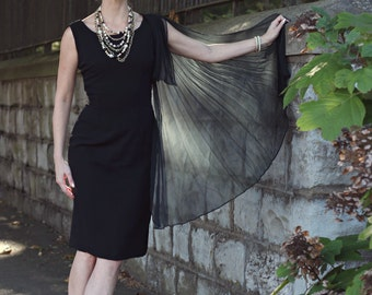 VINTAGE 50s Classic Black cocktail dress with chiffon cape - Alfred Werber - medium