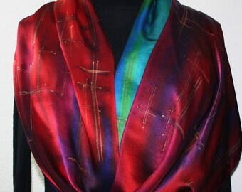 Silk Scarf Hand Painted. Red, Purple, Blue Silk Satin Shawl RAINBOW SATIN, Large14x72. Handmade Mother Gift, Bridesmaid Gift.