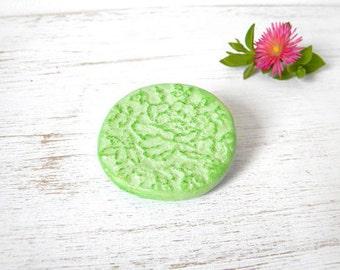 Green floral brooch embossed polymer clay pin, flower rose brooch